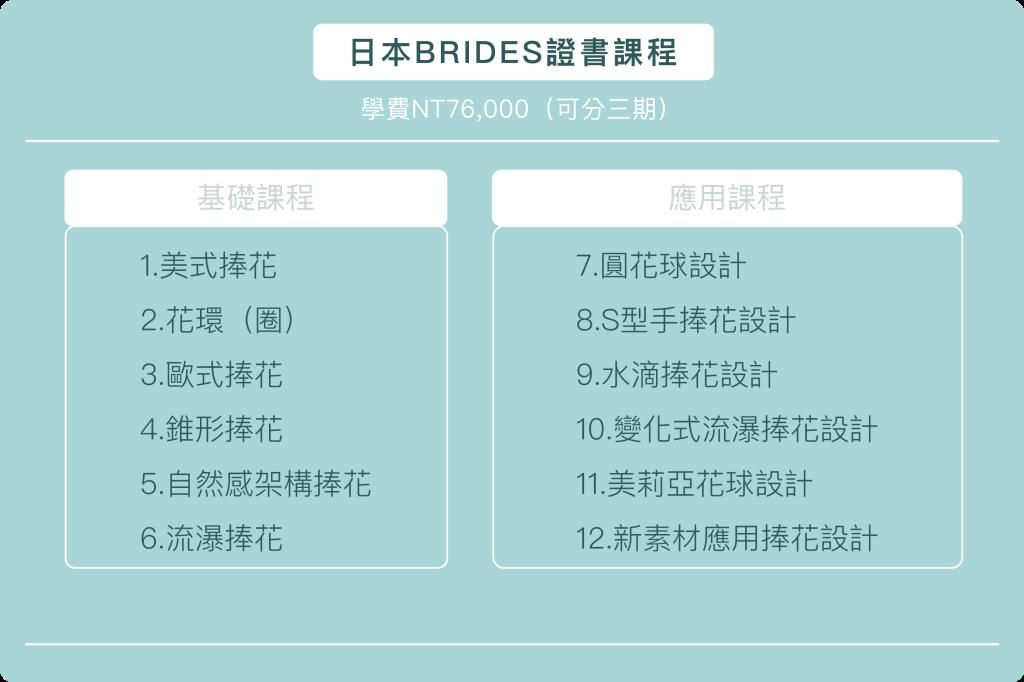 日本渡邊俊治BRIDES婚禮捧花證照、婚禮花藝師證照、花藝證照種類、花藝證照課程、花藝證照費用