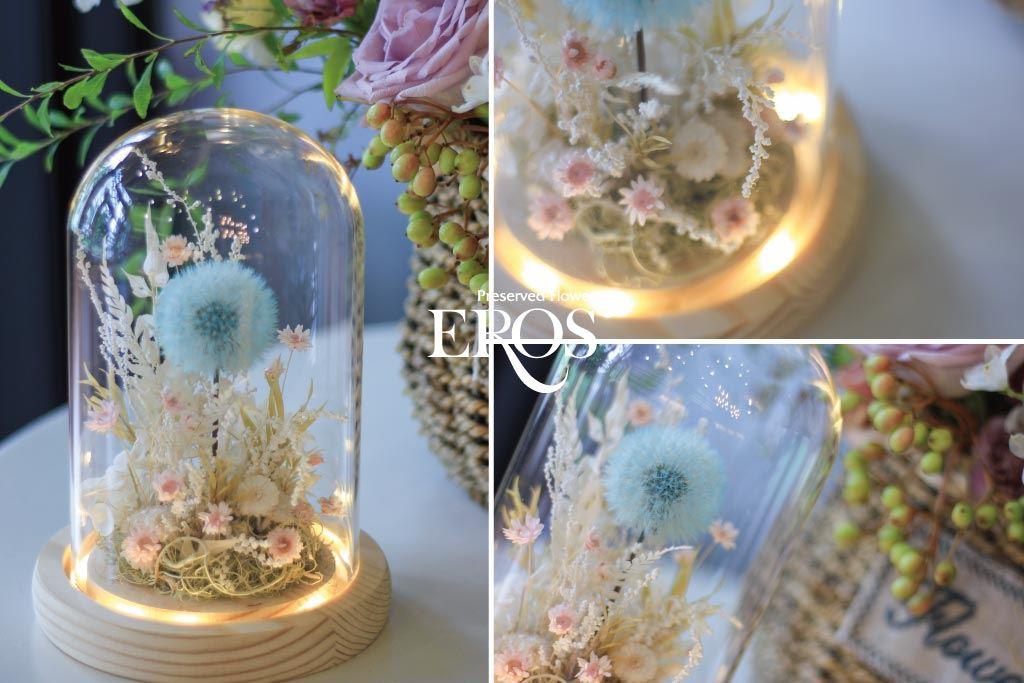 蒲公英玻璃罩花禮、永生花玻璃罩、玻璃罩乾燥花、玻璃罩盅、玻璃鐘罩、花 玻璃屋、藍芽旋轉音響、音樂盒