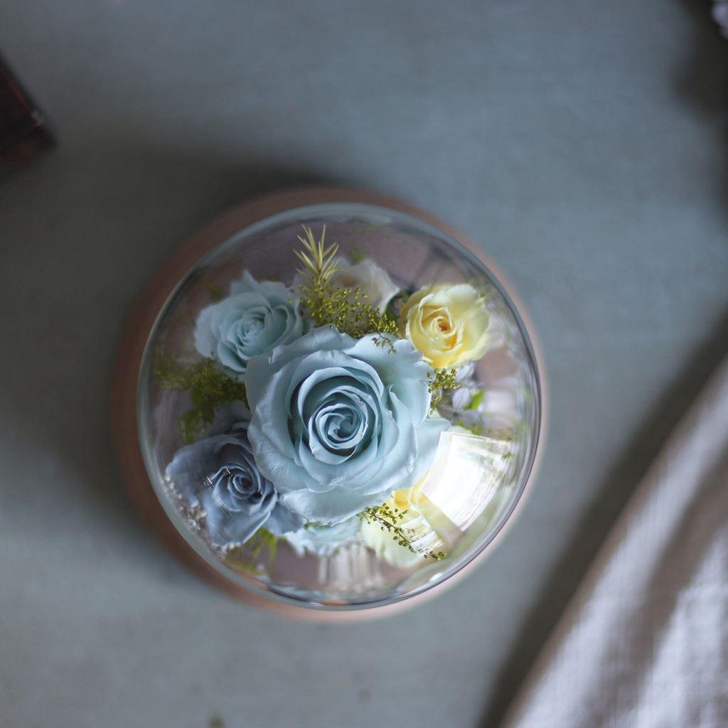 玻璃罩花禮、永生花玻璃罩、玻璃罩乾燥花、玻璃罩盅、玻璃鐘罩、花 玻璃屋、藍芽旋轉音響